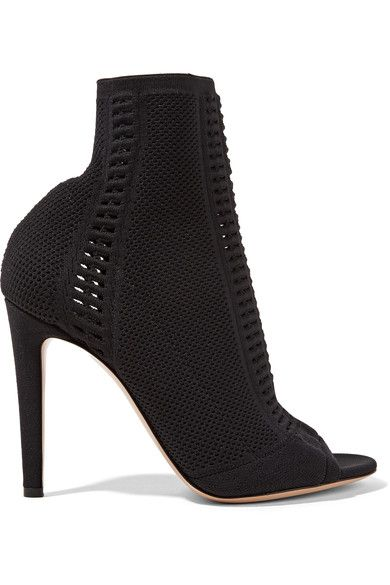 Gianvito Rossi - Vires Peep-toe Perforated Stretch-knit Ankle Boots - Black - IT38.5