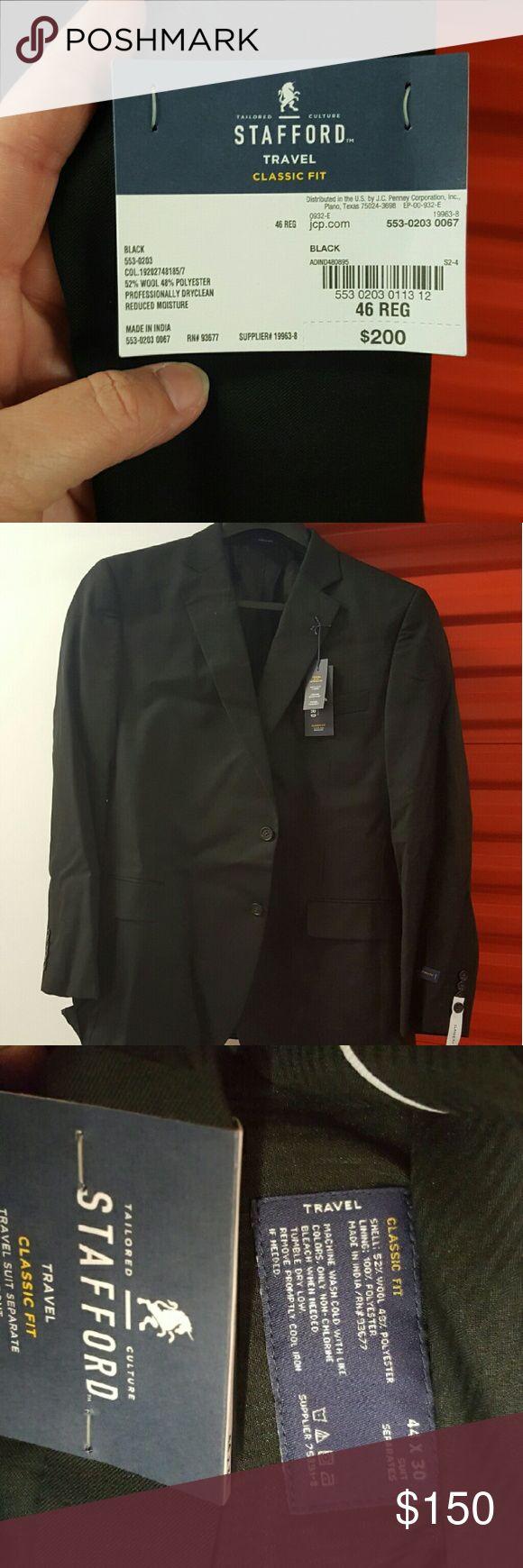 Men's Stafford Suit Black, Suit Jacket and Flat Front Slacks Stafford  Suits & Blazers Suits