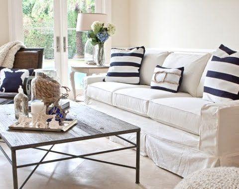 Slipcovered Furniture 101 -Sofa with Coastal Stripe Pillows