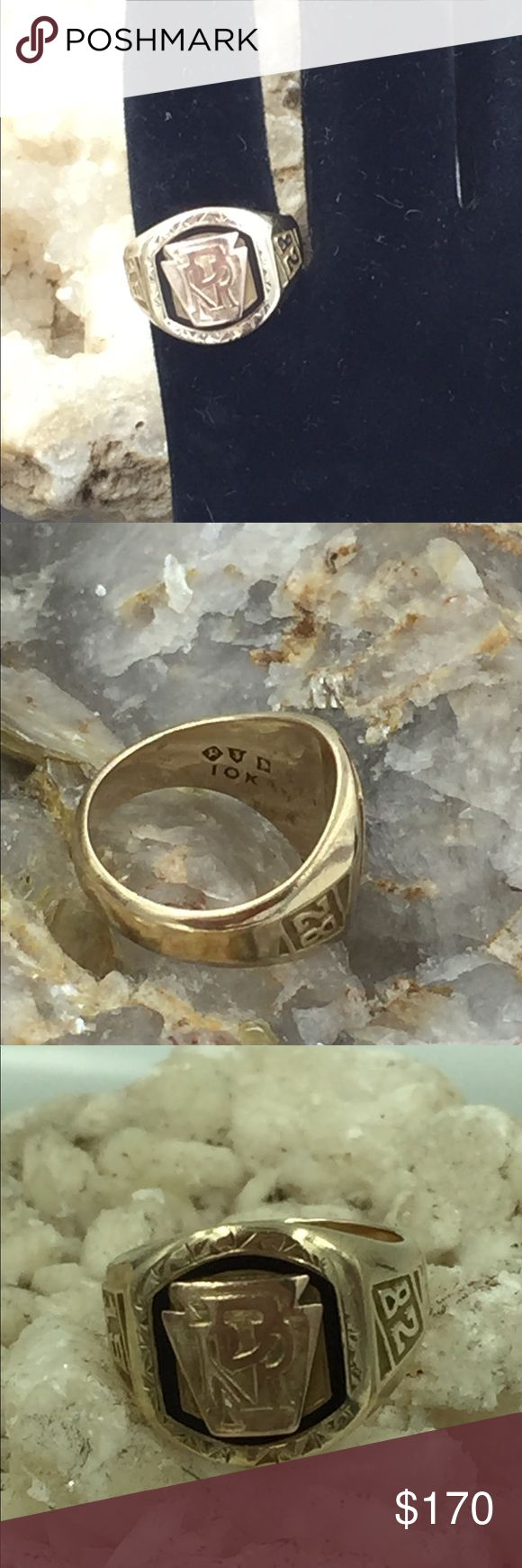 10K Yellow & Rose Gold 1982RPR Class Ring 3.25 Up for sale is a beautiful 1982 RPR class Ring in solid 10KT yellow and rose gold. The RPR written in front of the ring is rose gold. The black and etched bordering the RPR enhances the design of this wonderful class ring.  Size: 3.25 Stamped: 10K ASP M.A.M  Weight: 5.3g  Please do not hesitate to make a reasonable offer. Thank you for visiting our page. Jewelry Rings