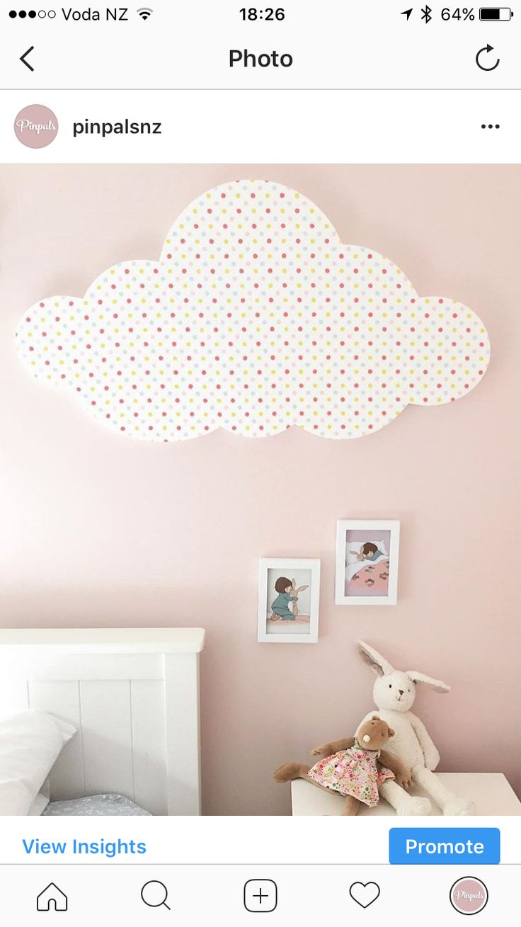 Cloud Pinboard in Spotty fabric