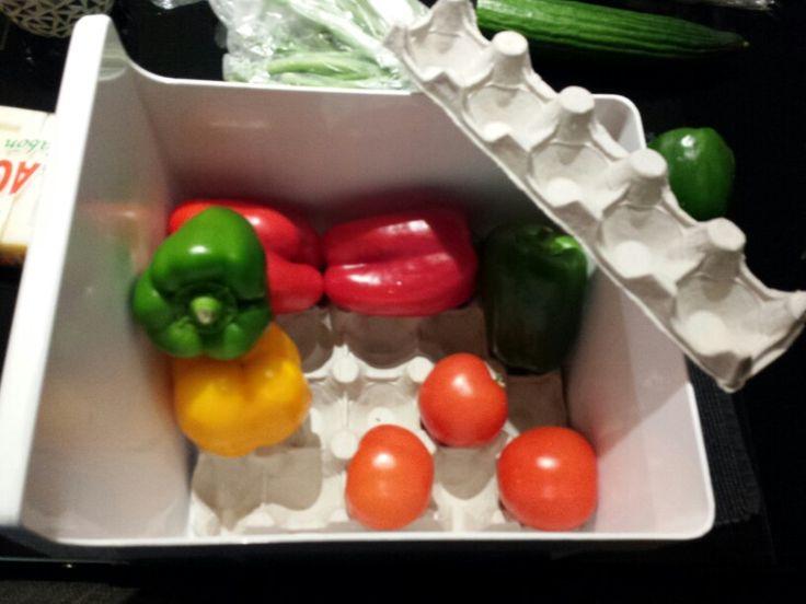 Eierdoos op de bodem van de groentenlade van de koelkast. Geen schimmel.
