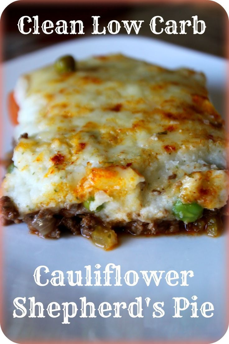 "Clean Low Carb GF Cauliflower Shepherd's Pie  ""Here's a Gluten free, low carb recipe for Shepherds pie - its topped with mashed cauliflower. Its a nutrient dense meal in one. So delicious - we will be putting this one into our regular rotation!""  Comments: ""Genius!  Sounds VERY GOOD!! I traditionally do Sheppard's Pie (low-carb version) with the mashed cauliflower, hamburger, and cheese - layer a couple of times in a casserole dish and bake until cheese it slightly browning.....nice…"
