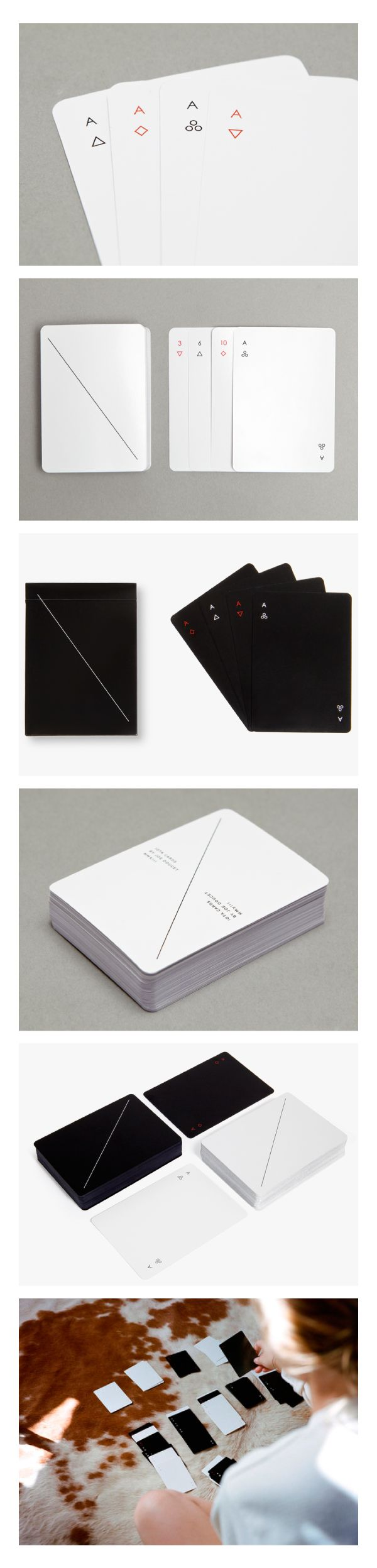 MINIM is a deck of regulation playing cards designed by Joe Doucet that dallies with the idea of how much you can take away while still maintaining a playable deck. Simple geometric symbols are reductive versions of hearts, clubs, diamonds and spades and while it's necessary to mark the back of regulation playing cards, we've done so with a minimal diagonal line.
