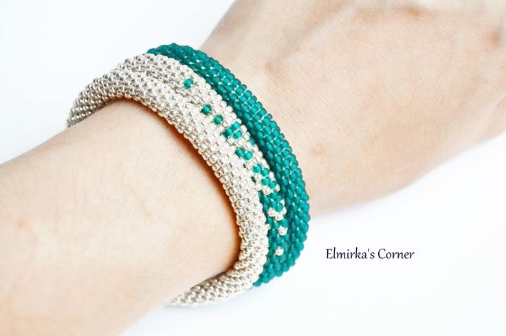 Matt bottle green with silver in the triple handmade bead bracelet  see more: https://www.facebook.com/ElmirkasCorner/posts/857355121038575