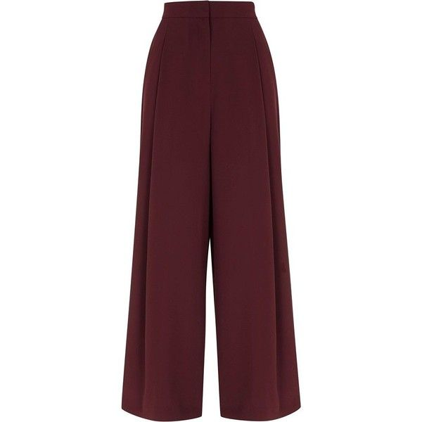 River Island Burgundy side stripe wide leg pants ($90) ❤ liked on Polyvore featuring pants, wide leg trousers, women, high waisted trousers, striped pants, tall wide leg pants, wide leg pants and striped wide leg pants