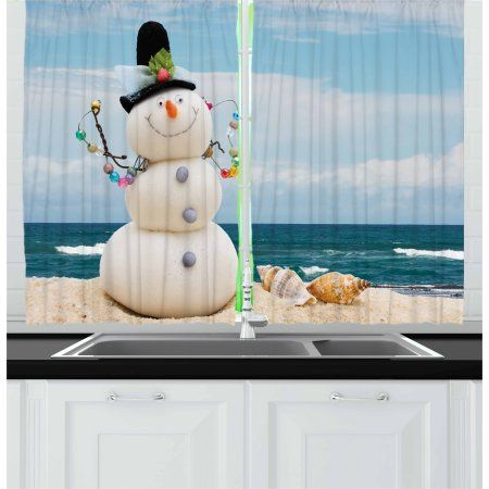 Snowman Curtains 2 Panels Set Winter Vacation Holiday Theme
