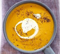 Roasted sweet potato & carrot soup: This silky smooth, super versatile vegetarian soup is perfect for a dinner party starter, everyday dinner or warming lunch - with 2 of your 5 a day
