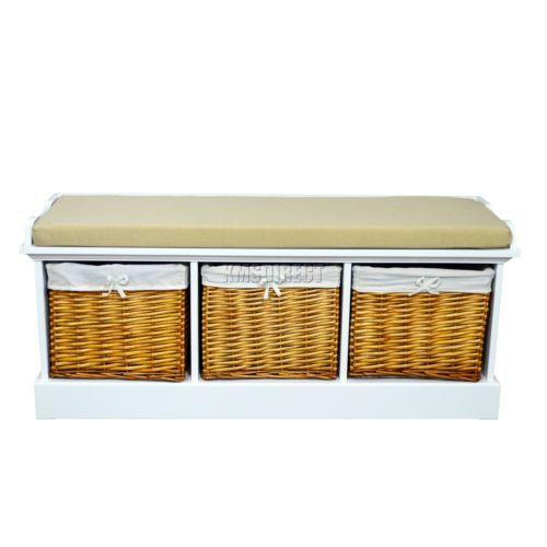 New White Wicker Storage Cabinet