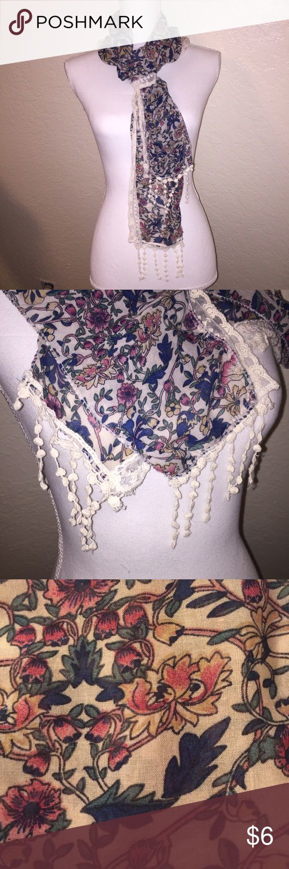 Floral Knit and Crochet Scarf This scarf has a vintage look to it. Features a floral pattern with crochet tassles and lace along the edge. NWOT never worn. Accessories Scarves & Wraps