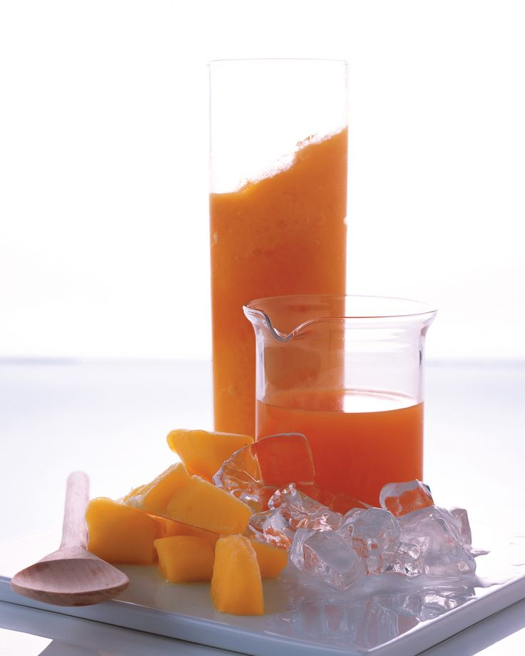 Carrot Mango Smoothie | Martha Stewart Living - This breakfast alternative starts with carrot juice, a valuable source of beta carotene, which many juicing enthusiasts believe is best absorbed on an empty stomach.