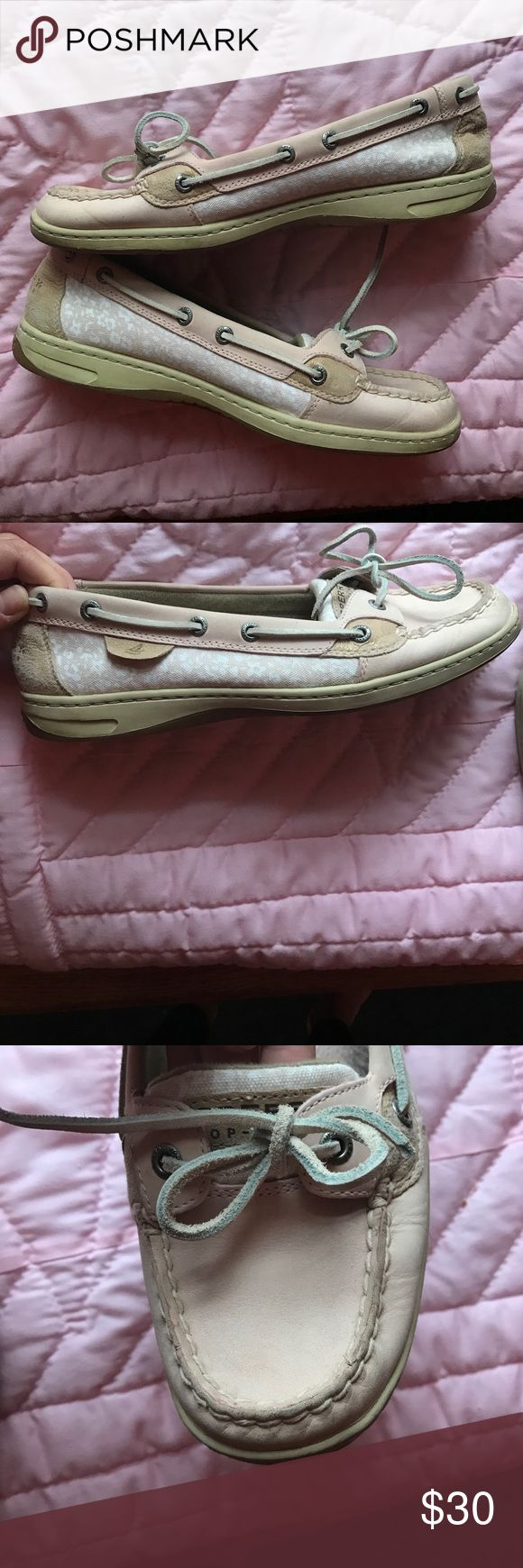 Super cute, baby pink sperrys! Slightly worn, baby pink Sperry Top-Siders! Flower detailing on the sides! Worn under 5 times! Super comfy! Sperry Top-Sider Shoes Flats & Loafers