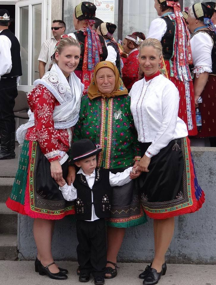 Trraditional costumes in Hungary. Three generation.