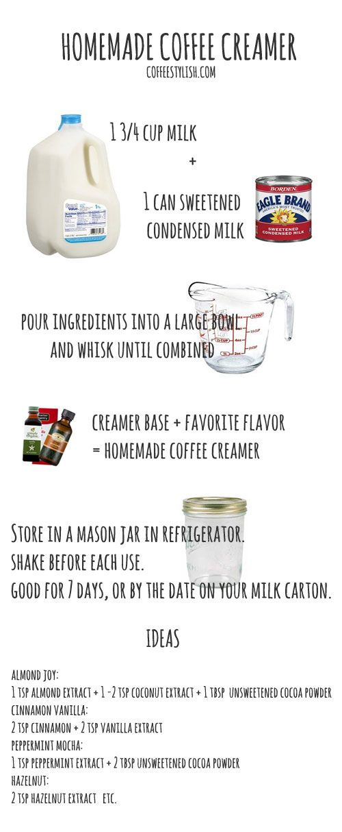 how to make a coffee creamer:  base = 1 3/4 milk (14 oz) + 1 can sweetened condensed milk (14 oz) + a flavor of your choice. usually it's 1 - 2 tsp when using extract (almond, coconut, vanilla) or 1 - 2 tablespoons when using cocoa powder. #coffeelove #homemade #diy