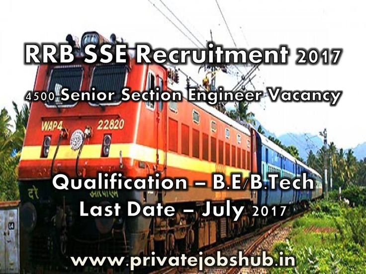 Best Opportunity is available for Engineering Degree Holders!!! Lets' Apply for RRB SSE Recruitment to fill up 4500 Senior Section Engineer Positions. Online applications are invited for qualified and proficient candidates, so candidates who are looking for Job in Railway Sector, can apply for RRB SSE Advertisement.