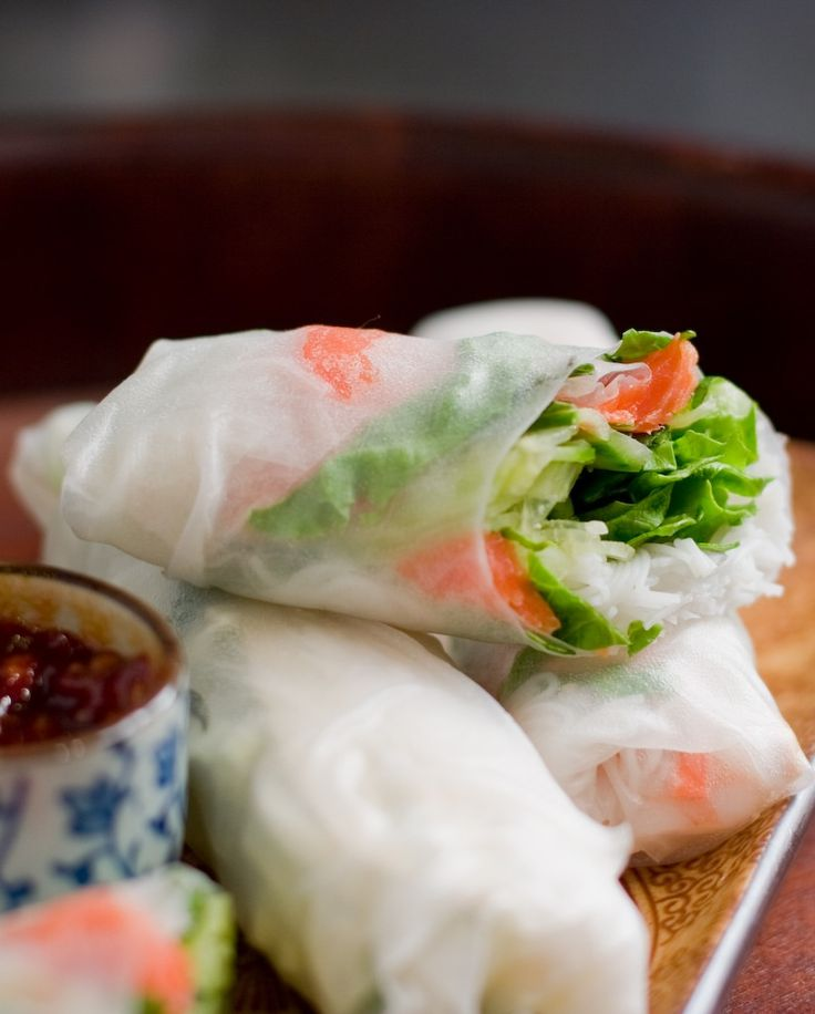 Spring rolls or goi cuon.  Can be made with pork, shrimp, chicken, herbs and rice vermicelli and then wrapped in rice paper, served at room temperature and accompanies by a sweet sauce made with ground peanuts.  Easily made into a vegetarian side.  More than the meat, the  incredible freshness of the flavors of herbs and crisp vegetables is the first thing that hits your palette.