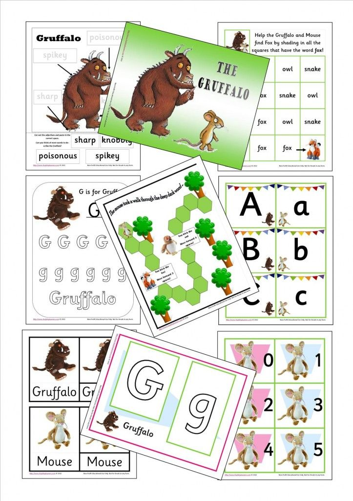 gruffalo printables - games to play durning picnic