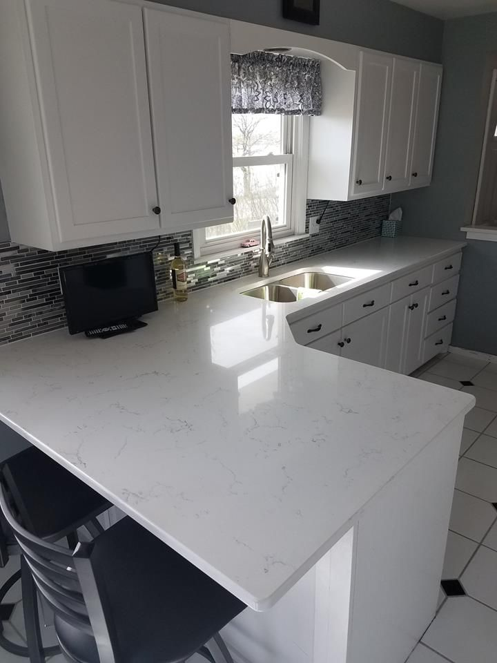 Concrete Countertops With White Cabinets