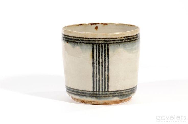 Gertrud Vasegaard - A stoneware vase, blue linear pattern on white ground