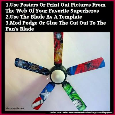 Dollar Store Crafter: Super Hero Ceiling Fan Blades ~ Buy It Or DIY It