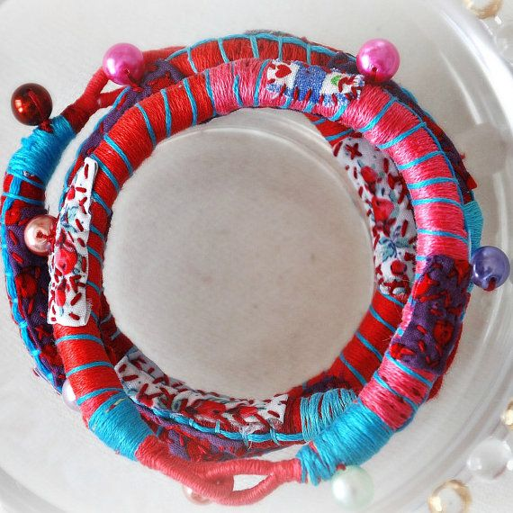 Red Bracelet Rope Summer Fabric Bracelet Wrap by stellacreations, $28.00