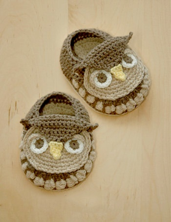 Owl Baby Booties #crochet #pattern