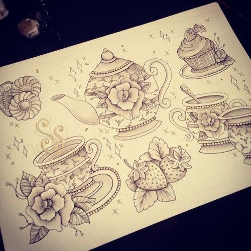 i would love a little intricate or solid black tea cup or teapot on my wrist