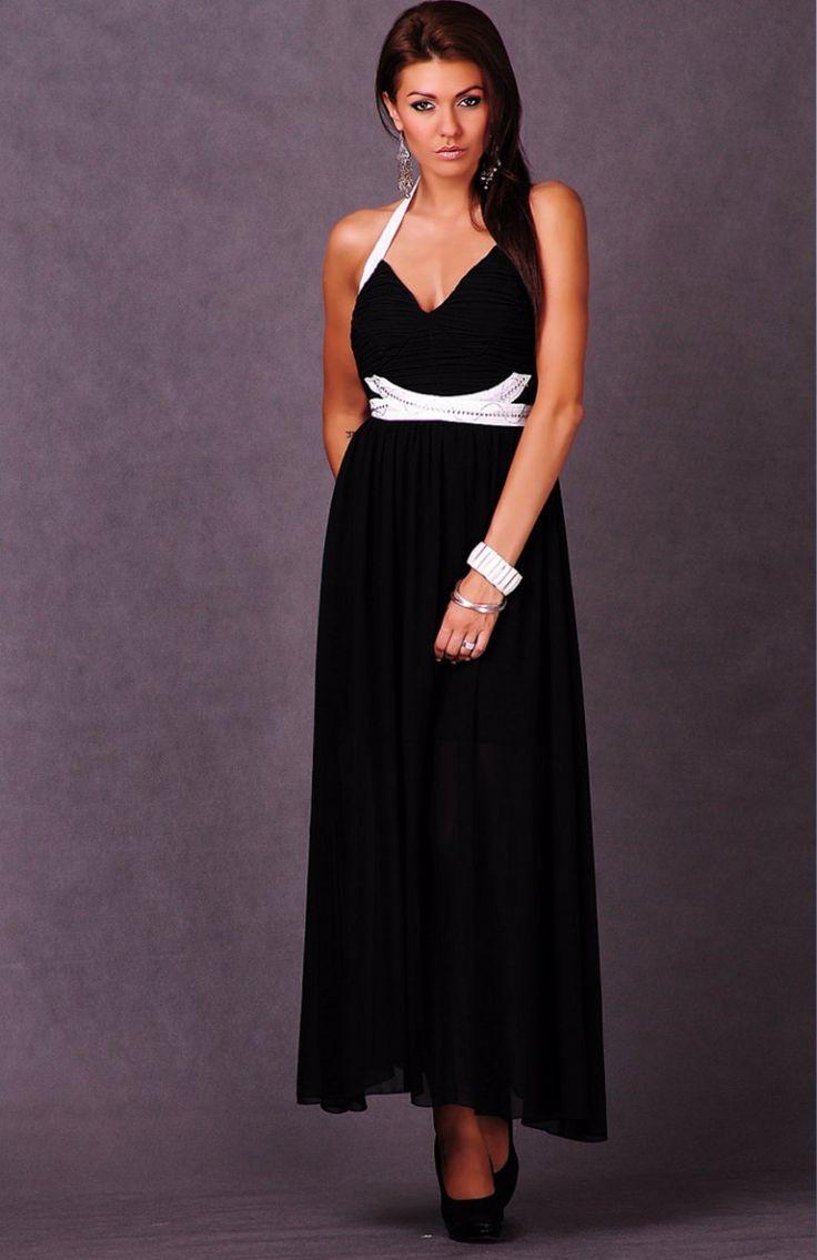 Emamoda Roma sukienka czarna Długa sukienka z wyciętymi pleacami