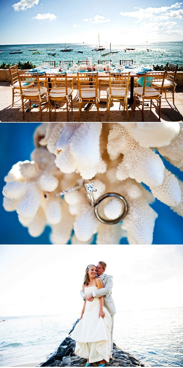 beachy wedding inspiration.  love the rings on the coral.
