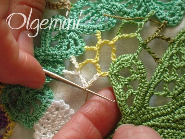 Crochet Photo Tutorial on filling stitches to connect Irish Crochet Motifs from Olgemini. In Russian with very clear close-up photos.