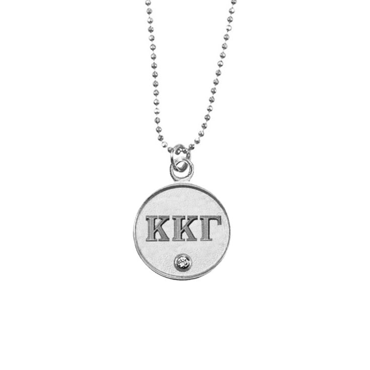 Kappa Kappa Gamma Lavalier Necklace -  Beautiful silver plated Kappa Kappa Gamma necklace featuring a single clear Swarovski Crystal. This Kappa Kappa Gamma necklace is perfect for recruitment, philanthropy events, and new member gifts! Available in Gold or Silver - Navika Girl - Sorority Jewelry, Greek Shirts, Equestrian Jewelry #kkg #kappakappagamma #fleurdelis #keys #owls #Lavaliers #greekletters #sorority #sisterhood #sistersforever