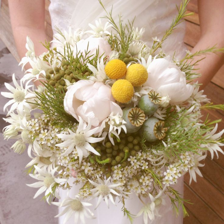 Flannel flowers, white Peonies, billy buttons and Brasilia in this 'Wild Gardens' wedding bouquet by Wedding Pixies :)