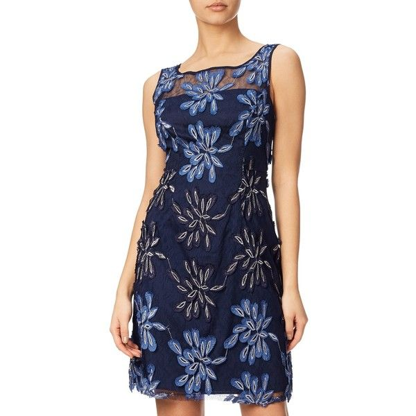 Adrianna Papell Petite Embroidered Floral Fit And Flare Dress, Blue ($180) ❤ liked on Polyvore featuring dresses, petite, petite cocktail dress, floral maxi dress, long-sleeve midi dresses, blue floral dress and petite maxi dresses