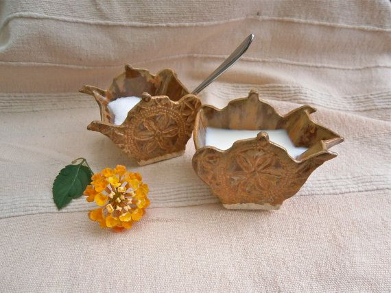 Toffee sugar bowl and creamer teapot shaped by BlueButterflyCrafts