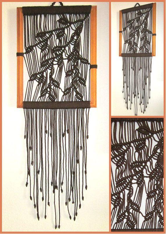 Macrame Wall Hanging Sprig In Frame Handmade by craft2joy