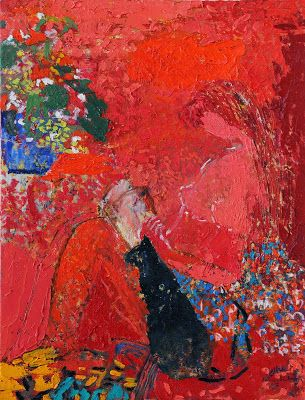 La liseuse by Fatima El Hajj born 1953 in Wardanieh, Lebanon