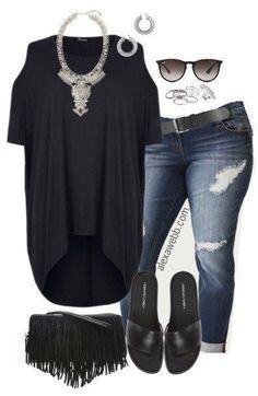 Plus Size Black Hi-Lo Tee Outfit –