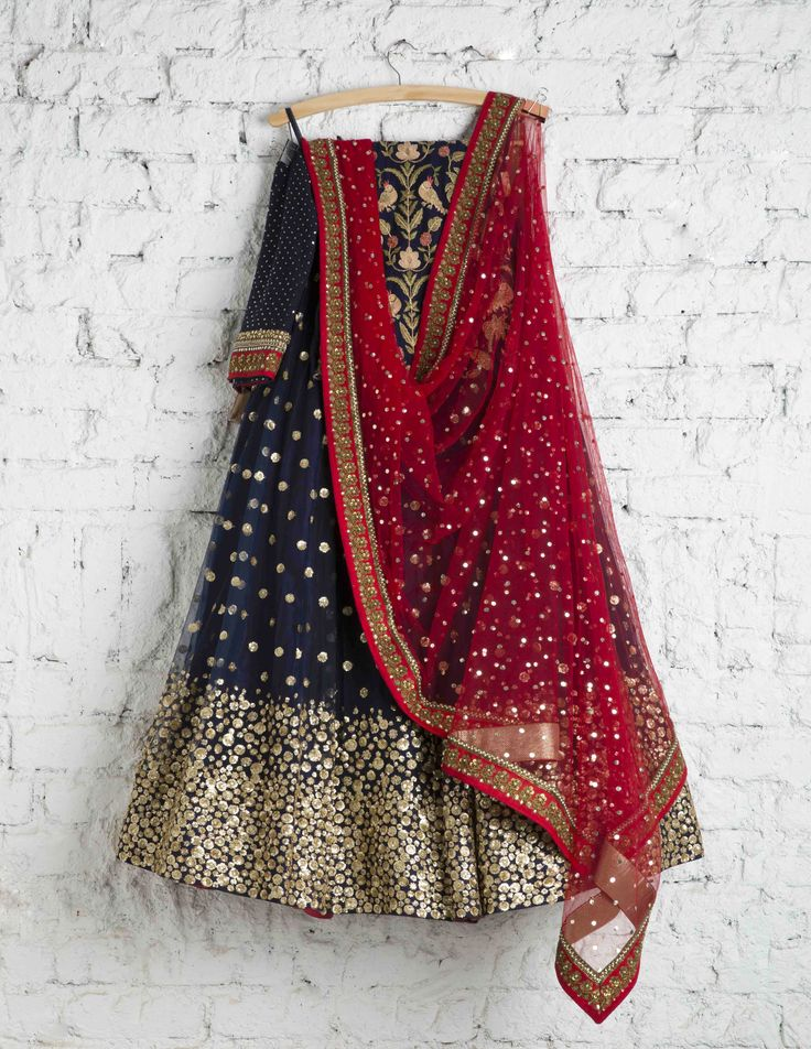 SwatiManish Lehengas | 109 SMF LEH 111 17 | Indigo lehenga with gold daman and scralet dupatta with blue thread work blouse