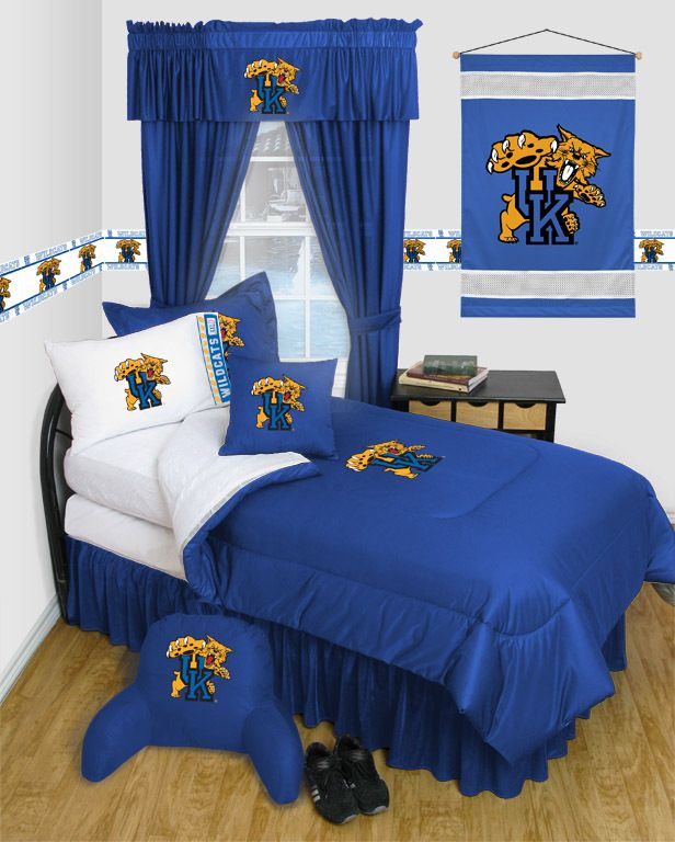 Kentucky Wildcats Locker Room Complete Bedroom Package, starting at  $239.95 at MySportsDecor.com. Great for your bedroom, a kid's bedroom, or a dorm room. http://www.mysportsdecor.com/kentucky-wildcats-locker-room-complete-bedroom-package.html... #kentuckywildcats #kentuckywildcatsbedding #kentuckywildcatslockerroomcompletebedroomset