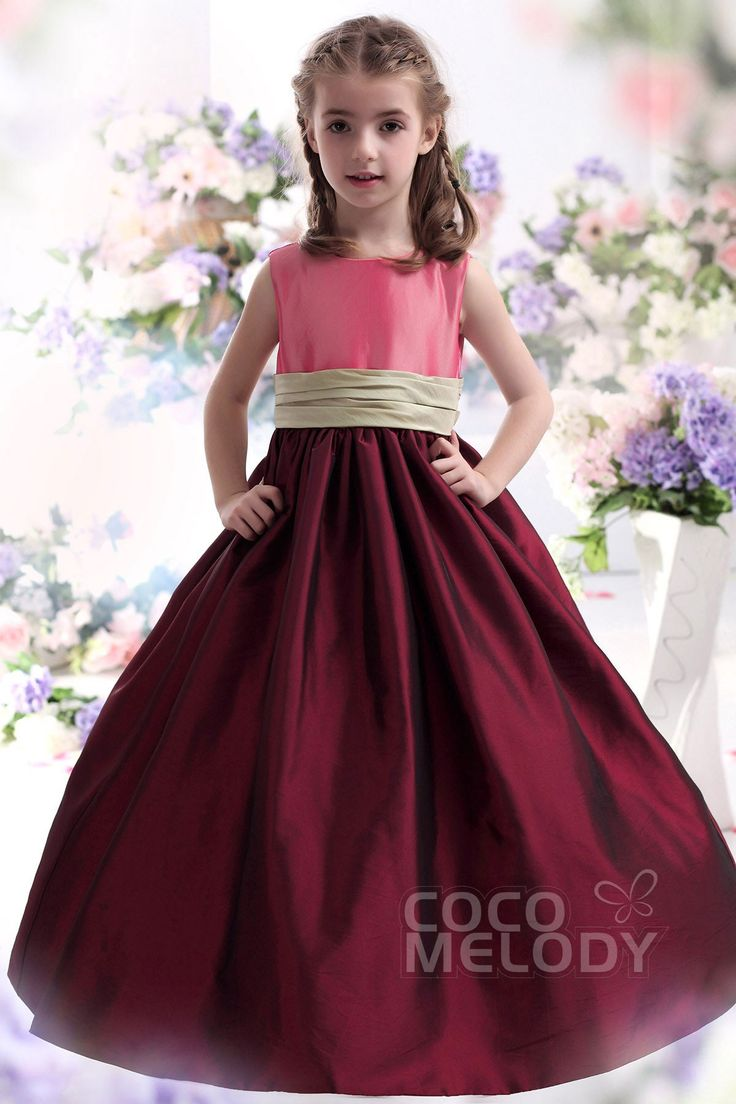 Christmas dress edmonton - Delicate A Line Tank Top Floor Length Taffeta Ski Patrol Girls Christmas Dress Ckzf13002