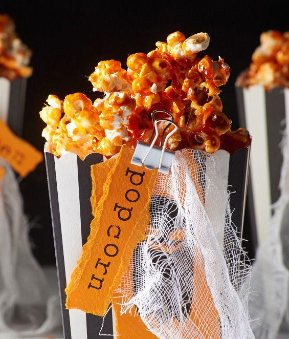 Oranges-Halloween Popcorn mit herrlicher Karamelnote