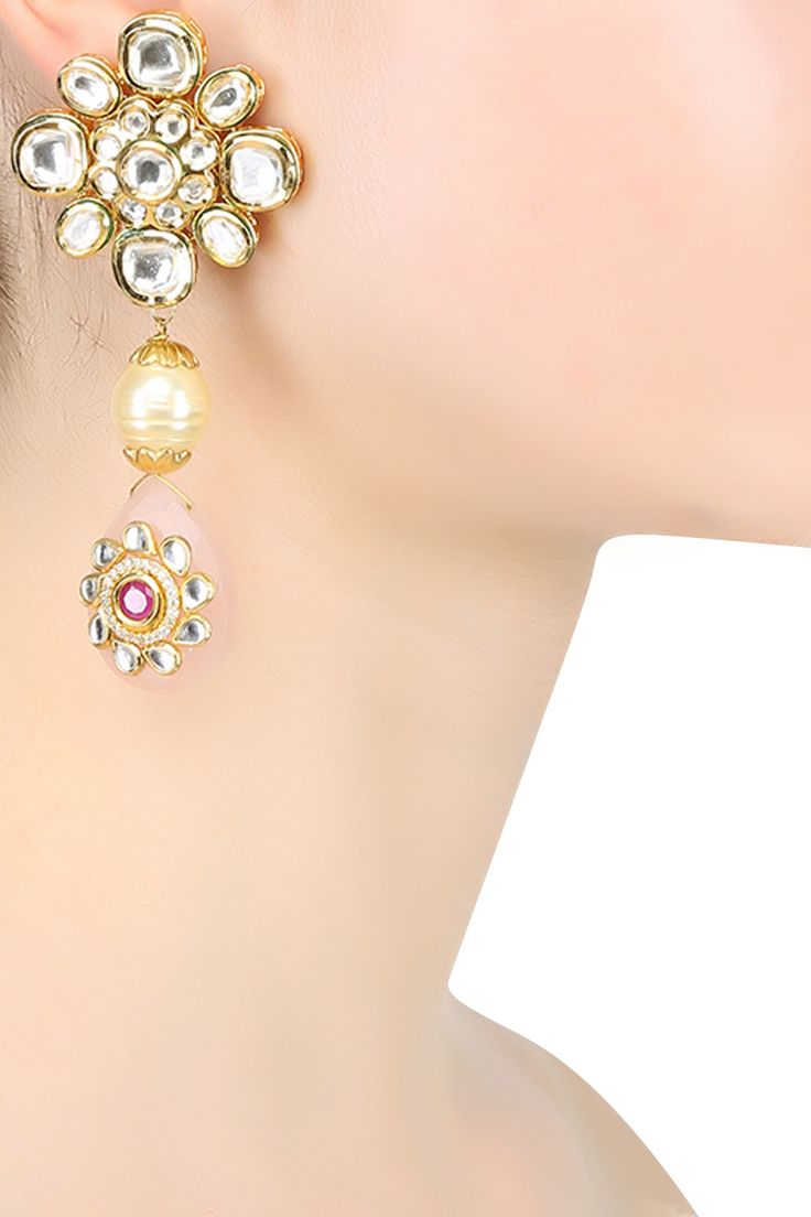 Anjali Jain presents Gold plated pearl and rose quartz earrings available only at Pernia's Pop Up Shop.