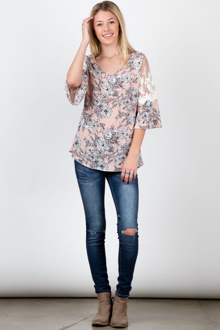 Blush Lace Shoulder Half Sleeve Floral Pritn Top! #fashion #USA #streetwear #streetstyle #streetfashion #trend #outfit #fashionweek #fashionshow #beauty #Sleeveless