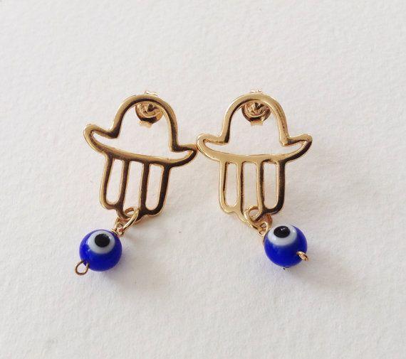 Hamsa blue evil eye Earrings Lucky Earrings Gold by Sifrimania #HEPTEAM #etsy #shophandmade