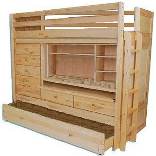 BUNK BED LOFT ALL IN1 W/ TRUNDLE DESK CHEST CLOSET Paper Patterns DETAILED STEP BY STEP DIY PLANS