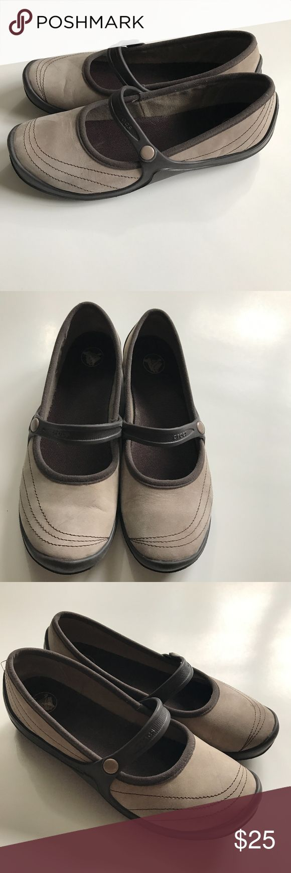 Crocs Tan Brown Mary Jane Slip On Shoes Size 7W Comfy cute slip on shoes. Normal wear. CROCS Shoes