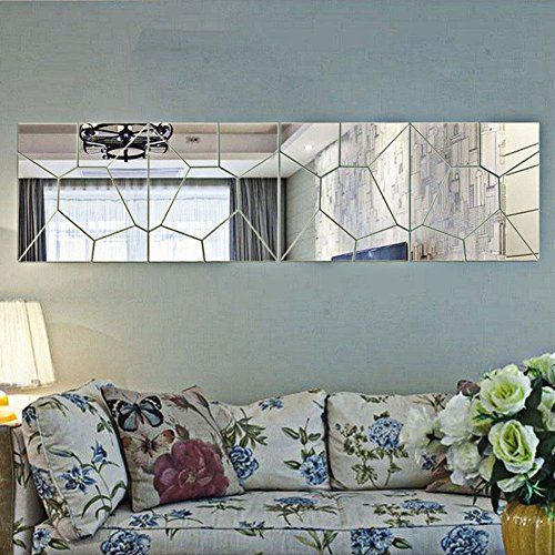 Bluecookies 30PCS Geometry Silvel Acrylic Mirror Wall Sticker Removable 3D Mirror Decal Mural DIY Home Decor -- More info could be found at the image url.