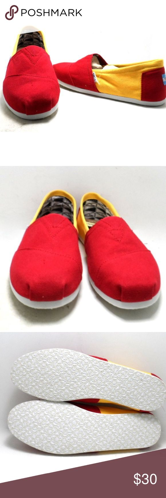 "Toms Men's Campus Classics USC Slip ons Color Toms Men's Campus Classics USC Slip ons      Color yellow/red  Size 11   New with out box.  Store display model. With out box, dust bag included. See all photos.      width 3 1/2"" sole length 11 1/2"" insole length 11 1/2""      	•	Imported