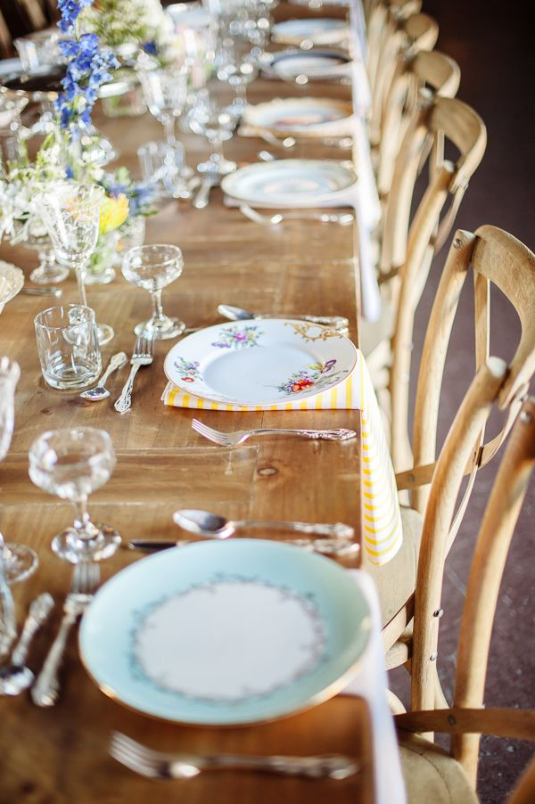 Reception wedding china -- love the mismatched look! | http://www.weddingpartyapp.com/blog/2014/08/26/budget-wedding-decor-style-wedding-thrift-store-finds/