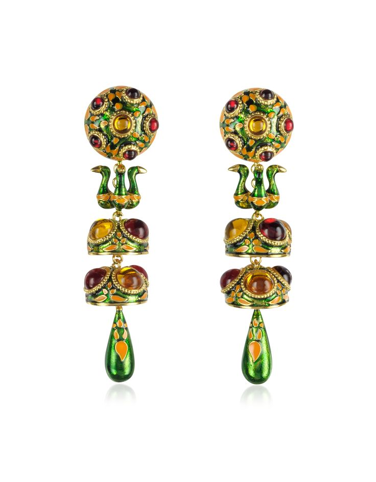DSquared2 Green Charlotte Brass and Enamel Earrings at FORZIERI